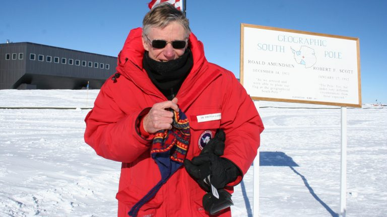 Tom Gaisser at the geographic South Pole. (Photo courtesy of Tom Gaisser)