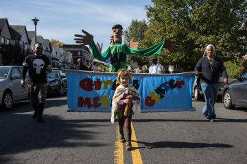 Beta Weissman, 4, marches with other members of her Philadelphia community at the 17th annual Peoplehood parade on Oct. 29, 2016. (Emily Cohen for NewsWorks)