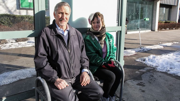 Dave Davies and Patsy talk at the bus stop.