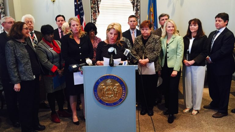House Majority Leader Valerie Longhurst is joined by other lawmakers to announce the package of bills in Dover Tuesday afternoon. (Charlie O'Neill/WHYY)