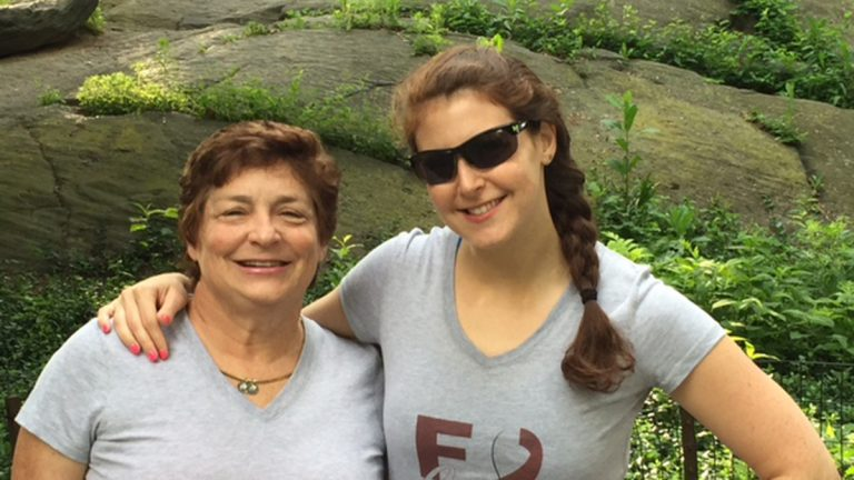 The author is shown with her daughter Nicole at the New York Mini 10K in June. (Image courtesy of Leslie Handler)