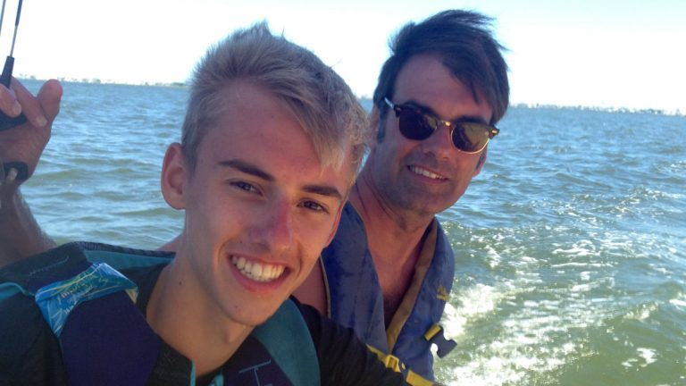 The author and his son on their Hobie Cat