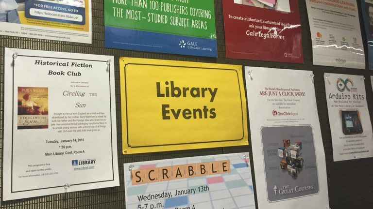 The posting board at the East Baton Rouge Parish library advertises the various events they offer.  (Ann Marie Awad/for WHYY)