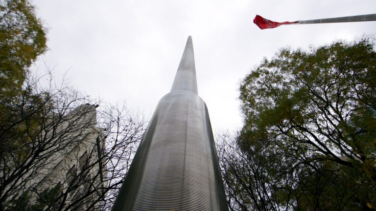 Each light mast is 50-feet tall. There will be 45 of them lining the center of N. Broad Street. (Nathaniel Hamilton/for NewsWorks)