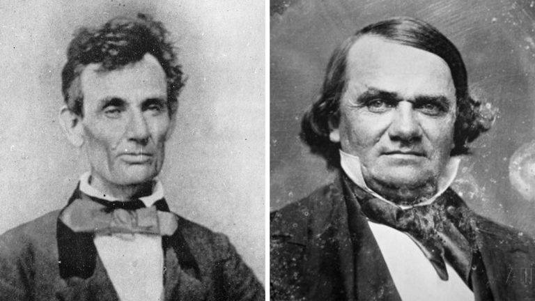 From left: Abraham Lincoln and Stephen Douglas (public domain)