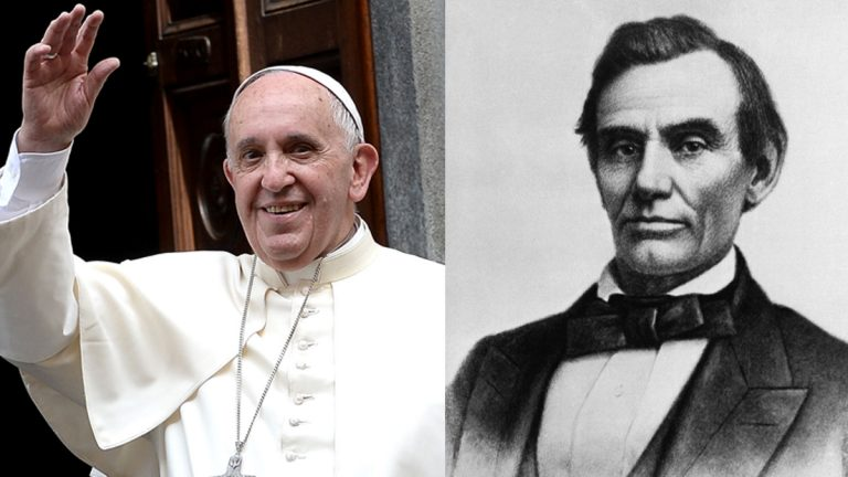 Pope Francis salutes the faithful gathered outside the hospital Cottolengo of Turin, northern Italy, in this June 21, 2015 file photo; President Abraham Lincoln is shown in a photograph by W.A. Thomson, in this Oct. 1858 file photo (Massimo Pinca and W.A. Thomson/AP Photos, File)