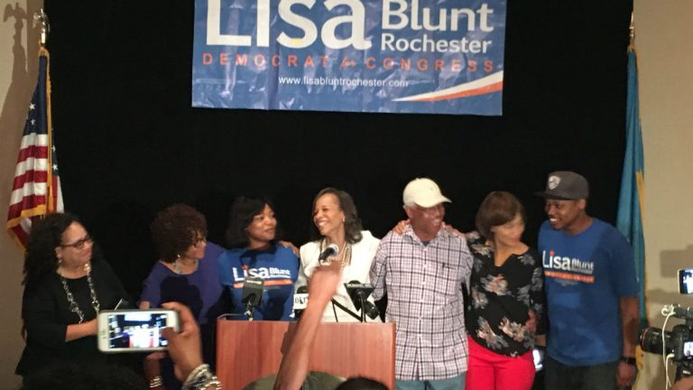 Democrat Lisa Blunt Rochester at her Tuesday victory party. (Mark Eichmann/Newsworks)
