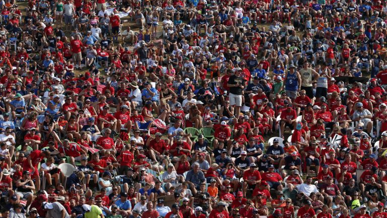 Little League fans line the hillside overlooking Lamade Stadium during the United States championship baseball game between Lewisberry, Pa. and Pearland, Texas at the Little League World Series tournament in South Williamsport, Pa., Saturday, Aug. 29, 2015. (AP Photo/Gene J. Puskar)