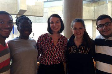 Elizabeth Bapasola with students at The College of New Jersey (Priscilla Nunez Photo)