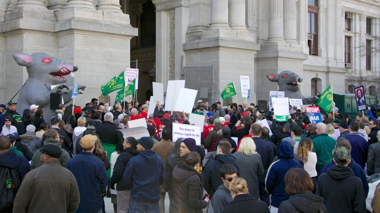 City union workers are shown rallying at Philadelphia City Hall in 2013. (Nathaniel Hamilton/for NewsWorks)