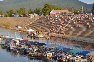 The amphitheater in Lock Haven, Pa, built into the city's levee, is starting to fill up for a Sunday night concert. (Eleanor Klibanoff, WPSU)