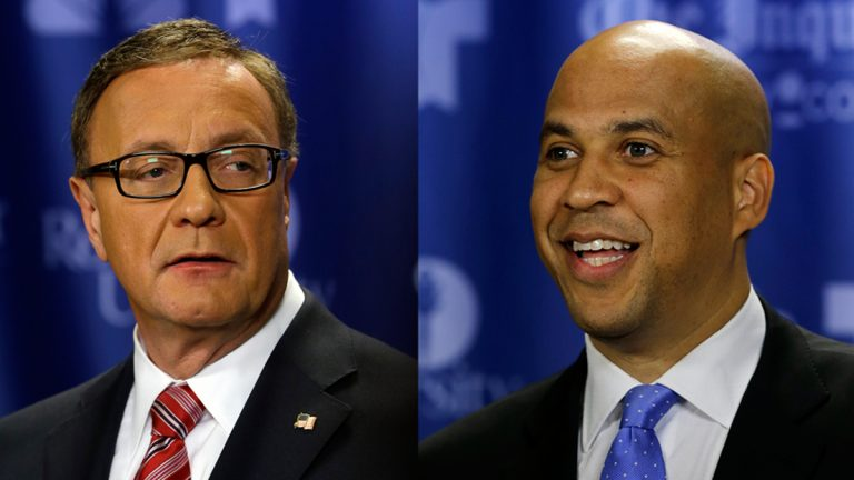 On Wednesday, New Jersey voters will go to the polls to decide who will fill the vacated U.S. Senate seat by the death of Senator Frank Lautenberg: Republican Steve Lonegan (left) or Democrat Corey Booker(right).(AP Photos)
