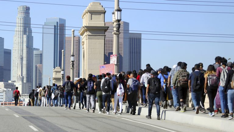Students from several high schools march to Los Angeles City Hall on Nov. 14