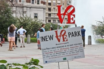 Philadelphians are invited to participate in the redesigning of LOVE Park. (Kimberly Paynter/WHYY)