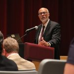 Lower Merion schools Superintendent Robert Copeland defends the district's budgeting practices during a 2016 school board meeting after a judge ruled that the district misled taxpayers. (Emma Lee/WHYY)