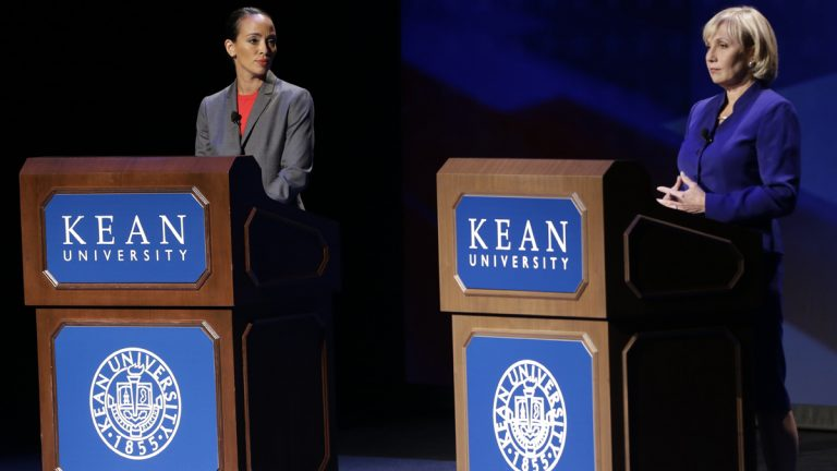 New Jersey Lt. Gov. Kim Guadagno (right), and Democrat Milly Silva debate at Kean University, Friday, Oct. 11, 2013, in Union, N.J. (Julio Cortez/AP Photo)