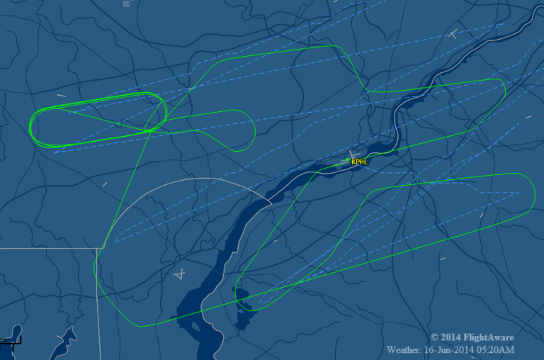This map from Flight Aware shows the flight path, represented by the green line, of the Lufthansa jet. (Photo via NBC10)