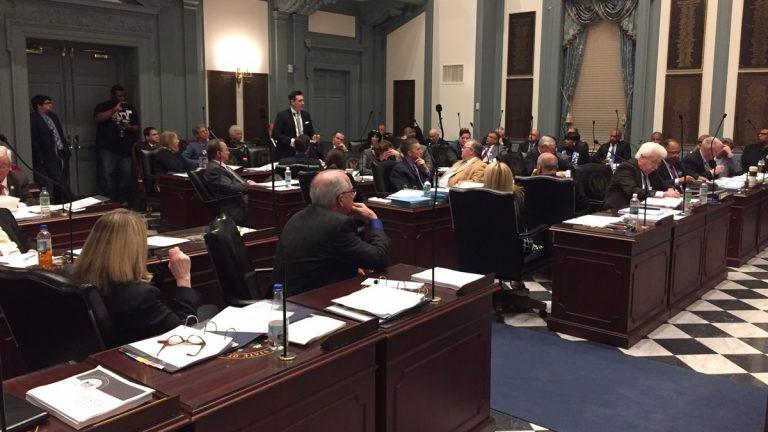 State Rep. Sean Lynn, D- Dover West, speaks in favor of repealing Delaware's death penalty. (Zoe Read/WHYY)