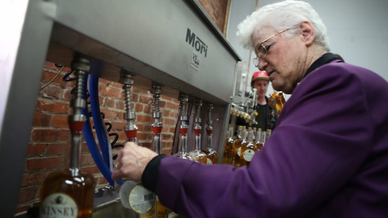 Mayoral candidate Lynne Abraham introduced a jobs plan at the Liberty City Distillery in Kensington on Wednesday. (Stephanie Aaronson/Philly.com)