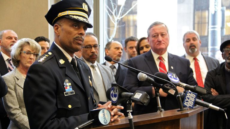 Philadelphia Police Commissioner Richard Ross answers questions at the Juanita Kidd Stout Center for Criminal Justice about the receipt of the MacArthur Safety and Justice Challenge Grant to support the city's effort to reduce its prison population.(Emma Lee/WHYY)