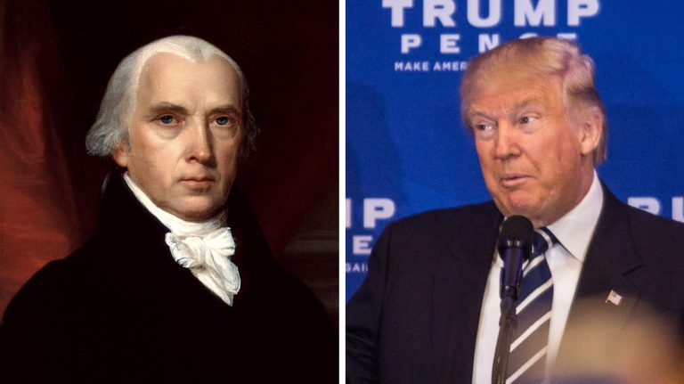 Left: Portrait of James Madison