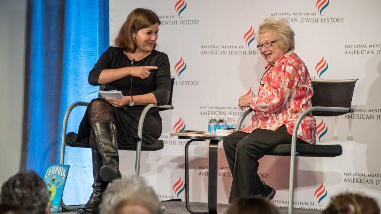 WHYY's Maiken Scott speaks with Dr. Ruth Westheimer Monday. (Photo/ Matthew Christopher)
