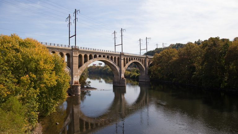 The Manayunk Bridge, a former Pennsylvania Railroad bridge, reopens on Oct. 30 to pedestrians and cyclists connecting Philadelphia's Manayunk neighborhood to Lower Merion Township in Montgomery County, Pa. (Lindsay Lazarski/WHYY)