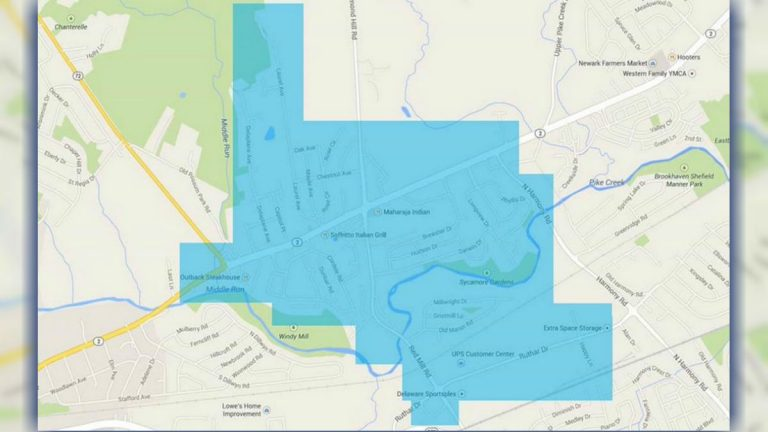 This map shows the area affected by the boil water notice.
