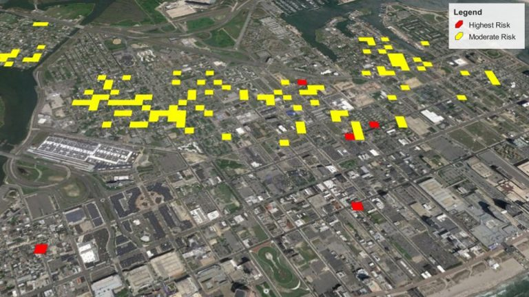 One example of predictive analytics through Risk Terrain Modeling. (Courtesy of Joel Caplan of Rutgers University)