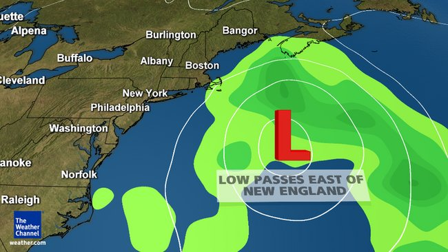 The low pressure system is expected to remain out at sea after forming later this week. (Image: The Weather Channel)