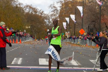 Kimutai Cheruiyot of Kenya wins the men's division and set a course record with a time of 2:15:32. (Brad Larrison for NewsWorks)