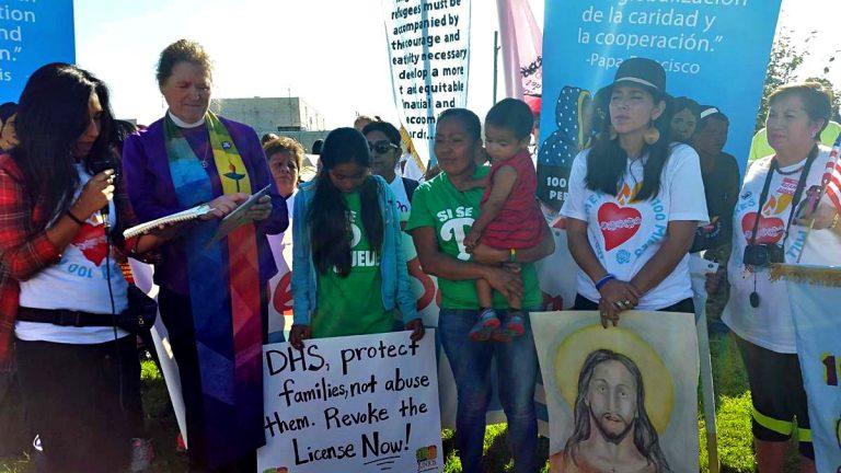 Protesters gather outside the Berks  Family Detention Center in September.(Laura Benshoff/WHYY)