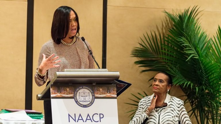 Baltimore State Attorney Marilyn Mosby delivers the keynote address during the Women in NAACP Empowerment Forum and Brunch in Philadelphia. (Jack Dugan/for NewsWorks)
