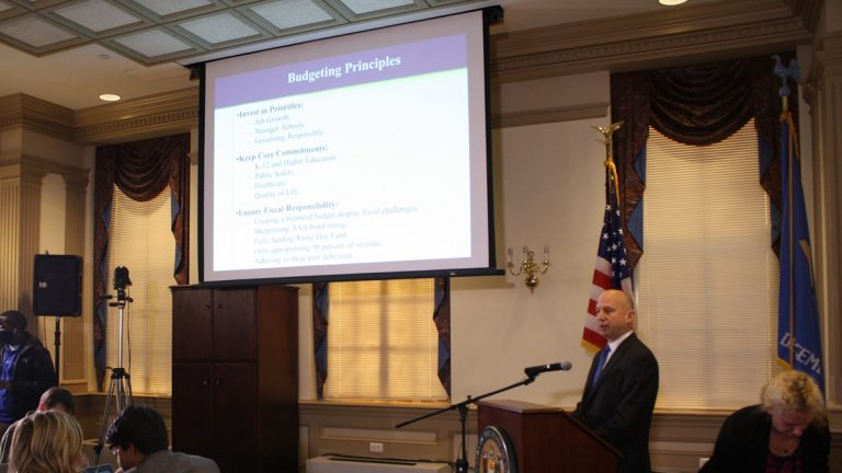 Gov. Jack Markell presents his FY16 budget in Dover. (Photo courtesy of Markell Administration)