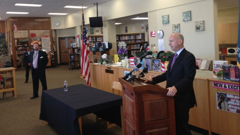Gov. Jack Markell discusses testing at William Penn High School in New Castle. (Avi Wolfman-Arent/for Newsworks)