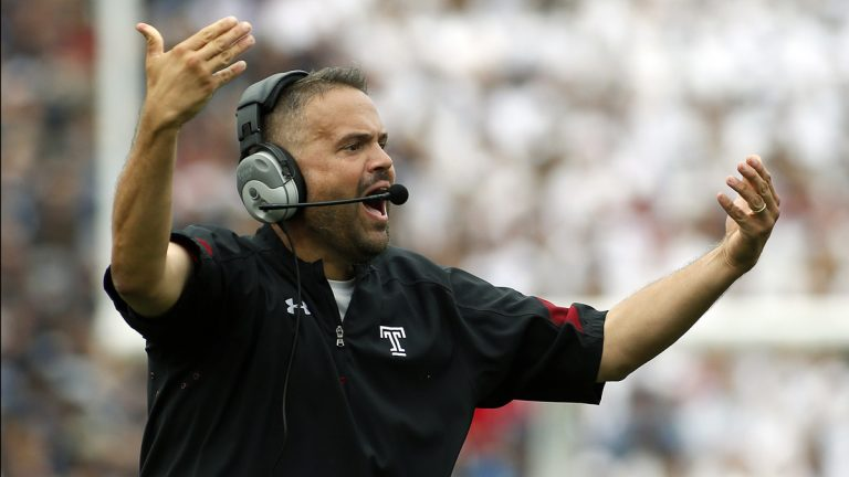 Temple head coach Matt Rhule is shown during a game against Penn State during the second half of an NCAA college football game in State College