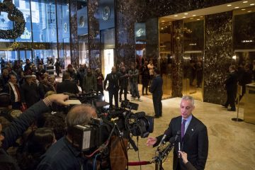 Chicago Mayor Rahm Emanuel speaks with members of the media after meeting with President-elect Donald Trump at Trump Tower in New York