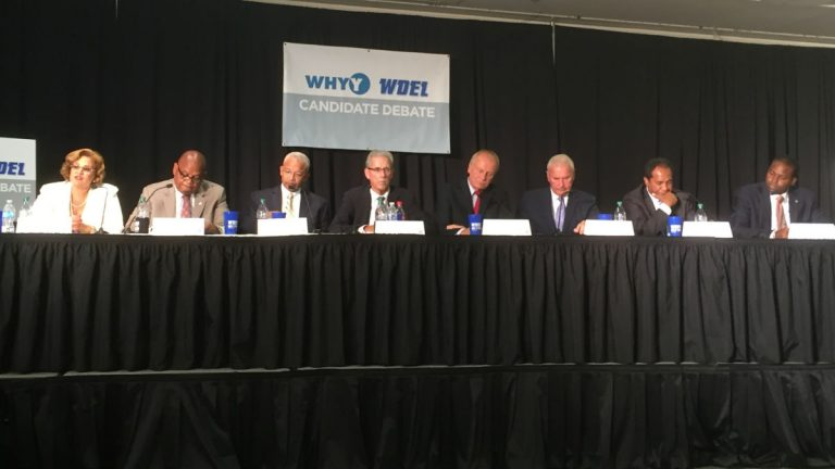 The eight candidates running for Wilmington mayor debate the issues Wednesday night at Del. Tech's Wilmington campus. (Zoë Read/WHYY)