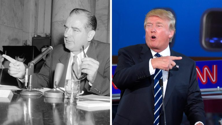 Left: Sen. Joseph McCarthy (R-Wis) wags his finger during a hearing in 1954. (AP Photo) Right: Presidential candidate Donald Trump wags his finger during a GOP debate in 2016. (AP Photo/Andrew Harnik)