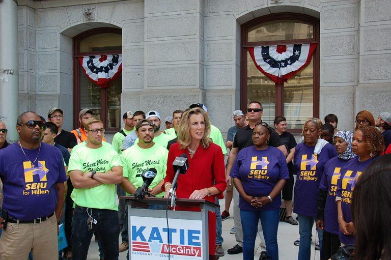 Katie McGinty talks trade with union members outside City Hall (Tom MacDonald Newsworks)