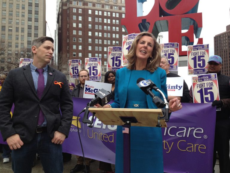 U.S. Senate candidate Katie McGinty (right) with Gabe Morgan, Pennsylvania Director of the union SEIU 32BJ (Newsworks photo/Dave Davies)