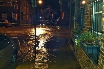 A photo showing a street view of the water main break. (Courtesy of Jim McLaughlin)