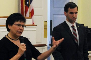 State Rep. Pam DeLissio and challenger David Henderson addressed the East Falls Community Council on Monday. (Matt Grady/WHYY)