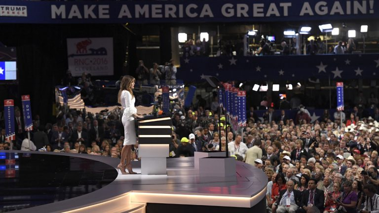 Melania Trump addresses delegates during the opening day of the Republican National Convention in Cleveland