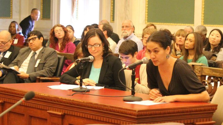 Mia-lia Kiernan, co-founder of 1Love Movement, testified before City Council Wednesday.
