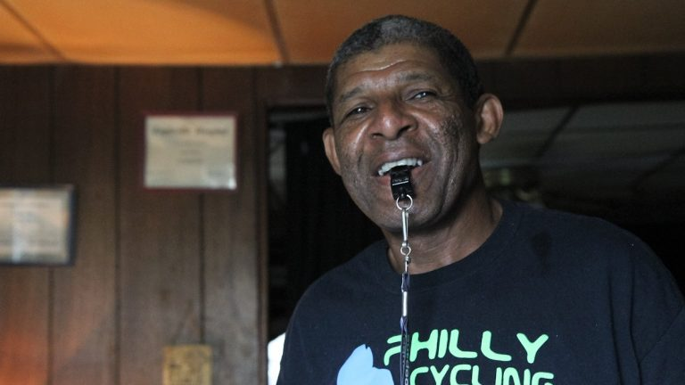 Melvin Moore has lived in Manayunk for 55 years and takes great pride in the neighborhood's annual bike race. (Kimberly Paynter/WHYY)