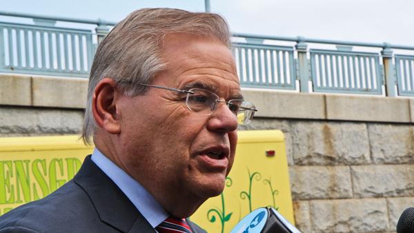 U.S. Sen. Bob Menendez, D-N.J., spoke at a Camden bike lane ribbon-cutting ceremony on Thursday. (Kimberly Paynter/WHYY)