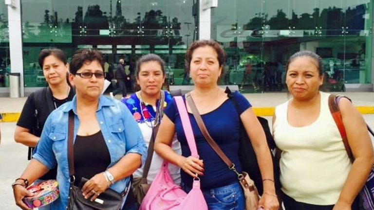 Five mothers whose sons are missing and presumed dead, Legideño Hilda Vargas, Blanca Luz Velez Nava, Hilda Hernandez Rivera,  Luz Maria Telumbre Casarrubias, and Angelica Gonzalez Gonzalez, outside the U.S. Embassy in Mexico City. (Photo courtesy of Perla Lara)