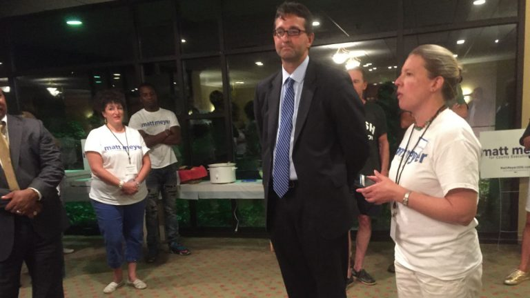 Matt Meyer spoke to supporters and his campaign team after winning the New Castle County Executive democratic primary race. (Zoe Read/Newsworks).