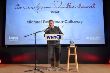 Michael Bohannan-Calloway speaking at the Stories From The Heart story slam. (Dan Burke/for WHYY)